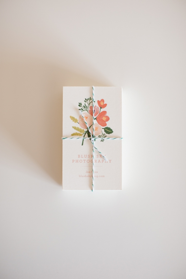 Rifle Paper Co Business Cards, Blush Sky Photography